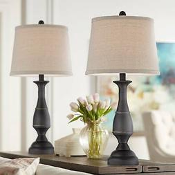 Traditional Table Lamps Set of 2 Dark Bronze Metal for Livin