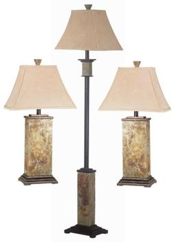 Kenroy Home Bennington 3-Piece Lamp Set with Natural-Slate F
