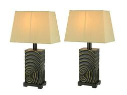 Black and Gold Circle Pattern Table Lamp with Fabric Shade S