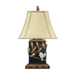 Black Finish Table Lamp with Painted Bird Accents with Light