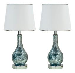 Kings Brand Blue Glass With White Fabric Shade Table Lamps,
