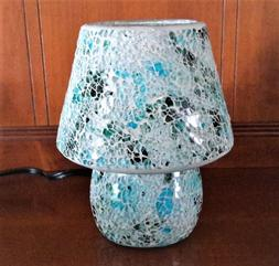 Blue Mosaic Glass Table Lamp 25W One Light UL Corded Electri