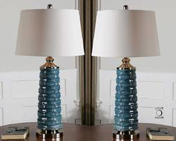 blue scalloped ceramic table lamp silver accents