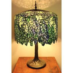 Blue Wisteria Tiffany-style Lamp w/ Tree Trunk Base