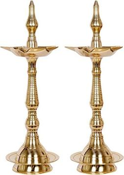 Nobility Brass Table Diya - Size: 16 inch - Pack of 02