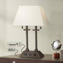 Bronze Desk Lamp Classic Columns Pull Chains Workstation USB