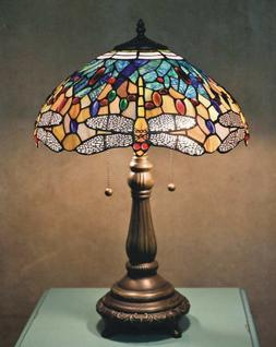 25 in. Bronze Table Lamp Light Handcrafted Stained Glass Sha
