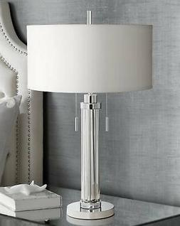 Possini Euro Cadence Glass Column Table Lamp