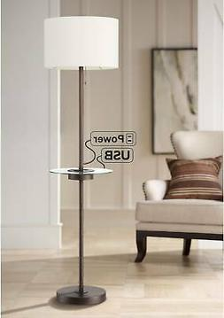 Caper Bronze Tray Table Floor Lamp with USB Port and Outlet