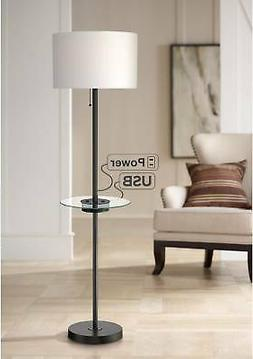 Caper Tray Table Floor Lamp with USB Port and Outlet Black
