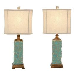 Urban Designs Carmel Seafoam Handcrafted Table Lamp - Set of