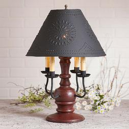 Cedar Creek Wood Table Lamp with Punched Tin Shade in 7 Colo