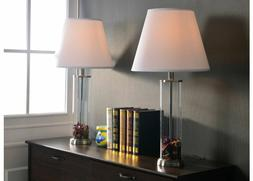 Clear Glass Fillable Table Lamp Set 2 Multi Directional Ligh