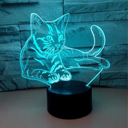 Colorful 3d <font><b>Lamp</b></font> Lights The Cat Illusion