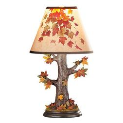 Colorful Fall Tree Trunk and Leaves Table Top Lamp, Fall Hom