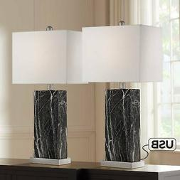 Modern Table Lamps Set of 2 with USB Black Faux Marble for L