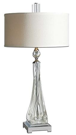 Contemporary Twisted Glass Lamp with Nickel Accents