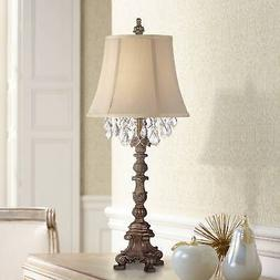 Cottage Table Lamp Candlestick Crystal Gold Beige for Living