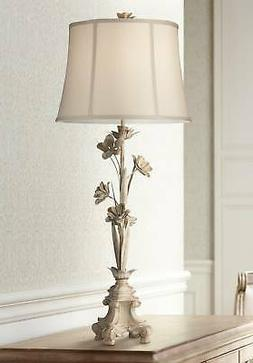 Country Cottage Console Table Lamp Antique White Beige Bell