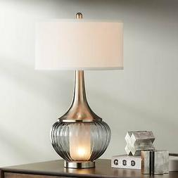 Courtney Metal and Glass Night Light Table Lamp