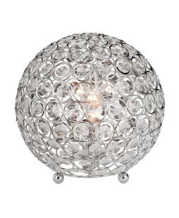 Elegant Designs Crystal Ball with Steel Rings Table Lamp Chr