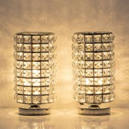 Crystal Table Desk Lamp Set of 2 Modern Bedside Night Lights