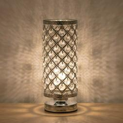 Crystal Table Lamp Cylinder Bedside Desk Reading Lamp Bedroo