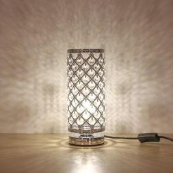 HAITRAL Crystal Table Lamp Modern Night Light Lamp with Meta