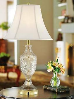 Cut Glass Urn With Brass Accents Table Lamp