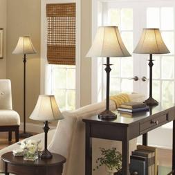 Dark brown Base/Faux-leather shade Lamp includes 1 floor lam