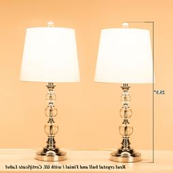Deluxe Table Lamp Crystal Ball w/ Fabric Shade Rotary On/Off