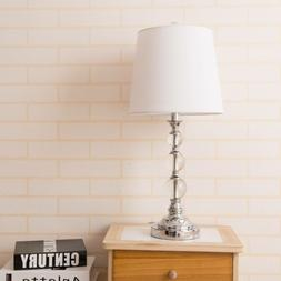 Deluxe Table Lamp Crystal Ball White Fabric Shade with Iron