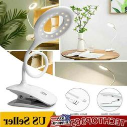 Desk Lamp Clip USB Rechargeable LED Reading Light Touch Tabl