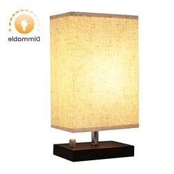 Dimmable Bedside Lamp, KingSo Solid Wooden Base Plug In Tabl