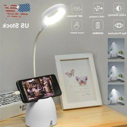Dimmable LED Desk Light Table Bedside Reading Lamp Touch Rec