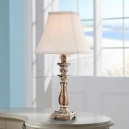 Distressed Antique Gold Candlestick Table Lamp