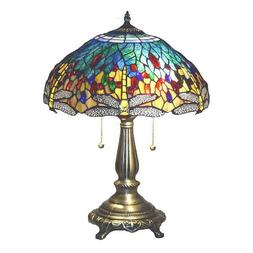 Dragonfly Table Lamp Yellow Blue Tiffany Style Bronze Base S