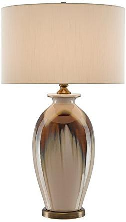 Eastman Cream and Brown Tall Rounded Porcelain Table Lamp
