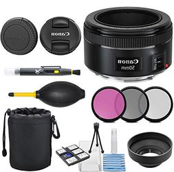 Canon EF 50mm f/1.8 STM Lens with 3pc Filter Kit , Deluxe Le