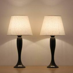 Traditional Metallic Table Lamps Set of 2 Beside Lights for