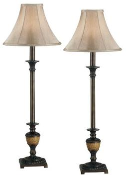 Emily Buffet Lamps in Crackle Bronze- Set of Two