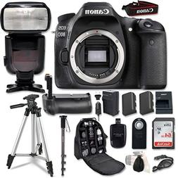 Canon EOS 80D Digital SLR Camera Bundle  with Professional A