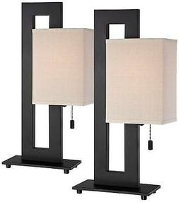 Espresso Bronze Floating Square Accent Table Lamp Set Of 2