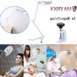 Facial 5x Magnifying Lamp Desk Table Magnifier Light Glass L