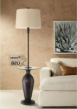 Fallon Bronze Tray Table Floor Lamp with USB Port and Outlet