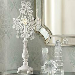 "Fay White 19 1/2"" High Crystal Candelabra Table Lamp"