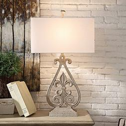 Crestview Collection Fleur De Lis Antique White Table Lamp