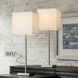 Franco Metal Table Lamps with USB Port Set of 2