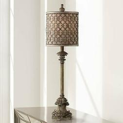"French Candlestick Metal Frame Shade 34"" High Buffet Lamp"