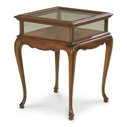Glass Sides Curio Table in Cherry Finish